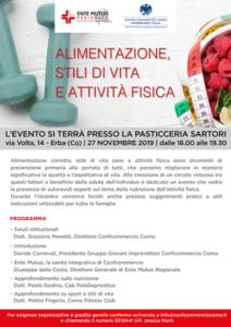 Convegno: Alimentazione, stili di vita e attività fisica @ Pasticceria Sartori