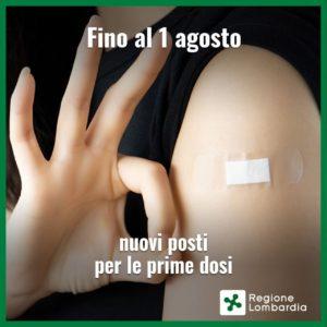 Vaccinazioni 1^ dose: fino al 1 agosto 100.000 nuovi posti